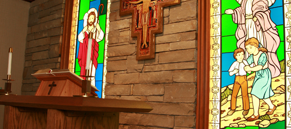 Picture of the cross in the Chapel at St. John Owasso hospital.